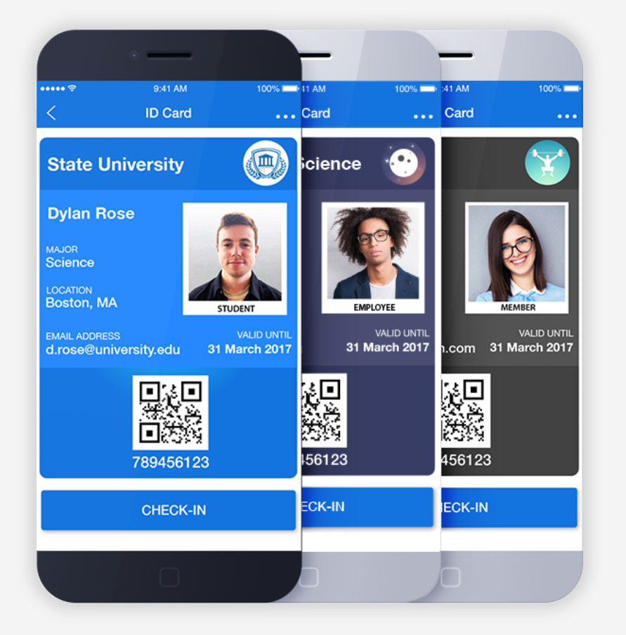 Student ID, Employee ID and Membership ID