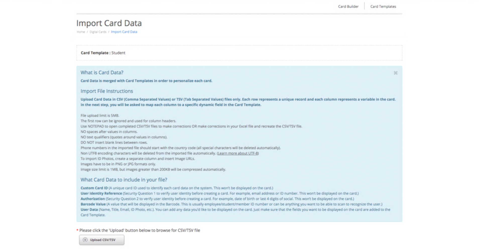 Import card data