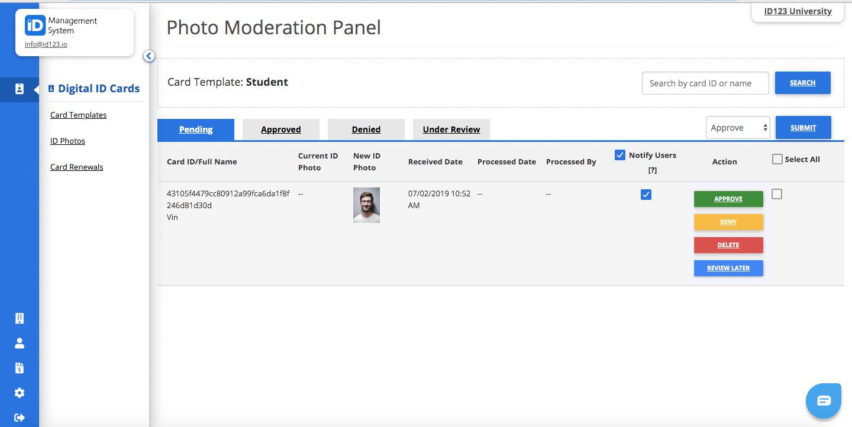 photo moderation dashboard