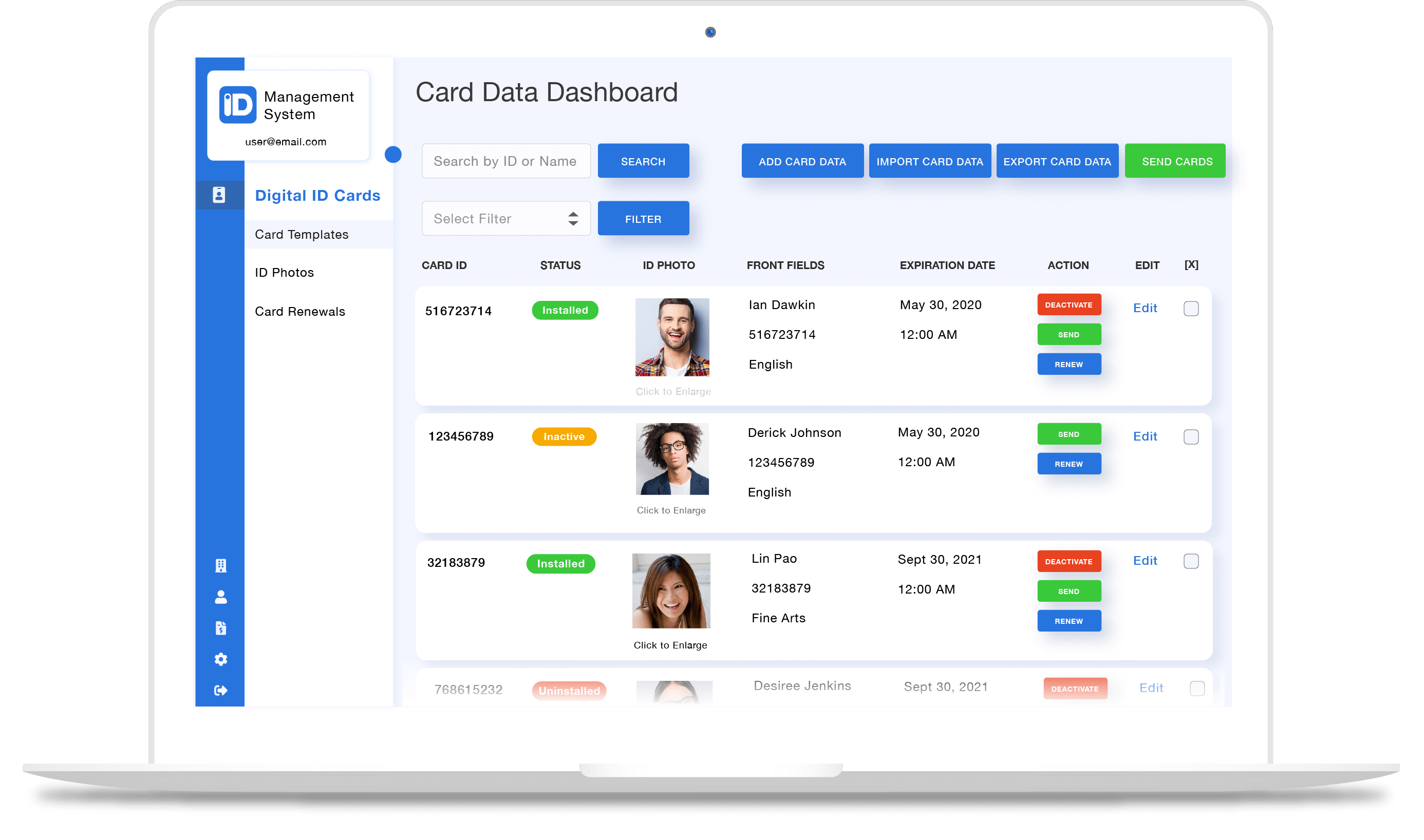 Digital ID card management software
